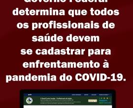 Informativo SIS: Você, PROFISSIONAL DE SAÚDE, precisa se cadastrar no combate ao coronavírus!